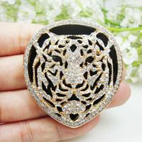 Tone novo e luxuoso animal Tiger broche Pin claro Rhinestone cristal ouro