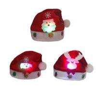 Articoli da regalo Cappello di illuminazione del bambino LED di Natale Renne di Babbo Natale del pupazzo di neve di Natale berretto da notte lampada di illuminazione decorazioni SN1254