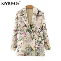 KPYTOMOA Kadınlar 2020 Moda Ofisi Çiçek Baskı Blazer Ceket Vintage Uzun Kollu Kadın Dış Giyim Şık Tops Pockets Wear