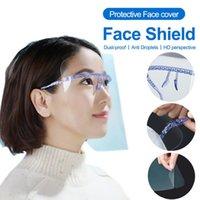 Máscara almacén de los EEUU Azul Gafas protectora de la cara con película anti salpicadura de aceite facial de protección entera cubierta con los vidrios titular transparente máscara Glasses