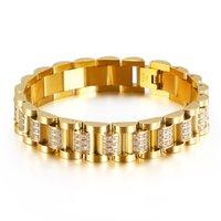 Haute qualité Gold Color Watchband Chaîne Bracelets en acier inoxydable Rose CZ Crystal Zircon Biker Link Bracelets Bracelets Bijoux pour hommes Femmes