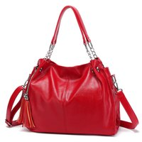 Fashion Large Capacity Causal Shoulder Bags for Women 2020 hot sale womens luxury designer purses handbags Tassel Shopper Tote red color
