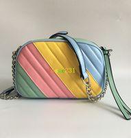 새 스타일 여성 핸드백 Marmont에 21cm 실버 체인 어깨 가방 크로스 바디 소호 가방 디스코 메신저 가방 지갑 지갑 7 색
