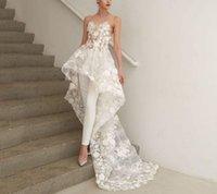 Plus Size Tiered Jupes Robe de mariée thé longueur Robes de mariée Vintage Robes de mariée Robes de mariée de plage Sheer Robes dentelle appliques