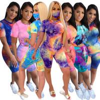 Mulheres S Roupa Dois Peça Verão Plus Size Outfits Tie Tye 2 Peça Set Tracksuits Jogging Sweatsuit Clubwear Sportswear Roupas Casuais