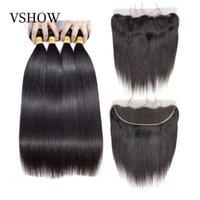 VShow Камбоджийский прямые волосы Пучки с фронтальным 13x4 кружева Закрытие Pre щипковых 100% Remy человеческих волос переплетений с фронтальным
