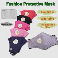 Máscaras de los EEUU Stock reutilizable unisex de algodón de la cara de la válvula con la respiración boca PM2.5 la máscara anti-polvo Tela Máscara Máscara lavable con filtro de DHL
