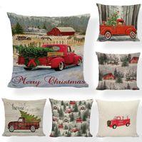 وسادة القضية عيد الميلاد وسادة يغطي شجرة عيد الميلاد رمي وسادة القضية الأحمر سيارة الطباعة حالة أريكة الأريكة وسادة غطاء الديكور عيد الميلاد LSK553