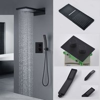Bathroom Shower Sets Matt Black Design 22 inches Wall Mounted Waterfall Rainfall Shower Head With Thermostatic Mixer Faucet Panel System