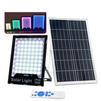 LED المصابيح الشمسية تعمل بالطاقة الشمسية ضوء الفيضانات RGB الكاشف في الهواء الطلق IP65 ضوء الضوء مع جهاز التحكم عن بعد لالشونة، في الحديقة، العلم القطب