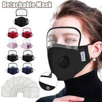 2 en 1 máscara de cara de la válvula con el blindaje de los ojos a prueba de polvo extraíble lavable de la cara llena protectora protector de cara Máscaras del diseñador con 2 filtros RRA3336