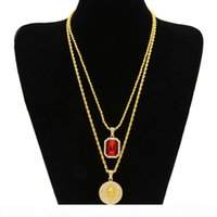 Wholesale- Micro Ruby Red & Jesus Face Pendant Chain Necklace...
