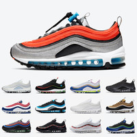 Nike Air max 97 airmax Worldwide White Black 97 Mens Running shoes USA Ghost Aqua Blue Easter MSCHF x INRI Jesus 97s UNDEFEATED men women Designer sports sneakers
