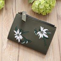 Ladies Wallet Mini Folding Purse Embroidered Flower Pattern Zipper Wallet Card Holder Wallets and Purses Women clutch Money Clip Wallet