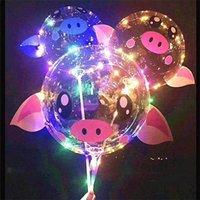 2020 Kids Couples Pig LED Cartoon Bobo Bobo Ball Luce luminosa in su Cancella palloncini 18 pollici Balloon Natale Natale festa festa decorazione di nozze giocattoli DHL