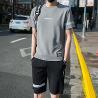 Yaz Erkekler Şort Takımı Nedensel Plaj Kısa Kollu Pantolon Sweatpant Eşofman Artı boyutu 4XL İki Adet Suit Erkekler Giyim Takımları