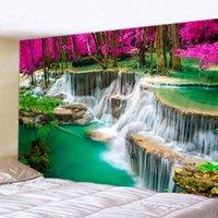 태피스트리 도매 3D 비치 타월 폭포 풍경 아름 다운 숲 스트림 인쇄 벽 카펫 요가 매트 홈 장식 태피스트리
