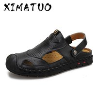 Summer Casual Shoes Men Leather Beach Sandals Men Fashion Ou...