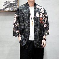 Jaquetas Masculinas Dragão Padrão Auspicioso Nuvens Kimono Japonês Cardigan Retro Casacos Tradicional Roupa Streetwear SA-8