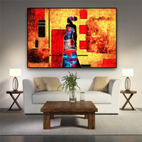 Modern African Women Portrait Abstract Oil Painting Retro Tr...