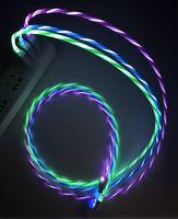 Fluído cable de carga conducido color del arco iris del color del LED cable de carga para Android 1m Led cable de carga USB para Samsung