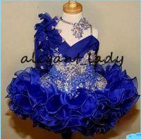 Glitz Pageant Abiti Royal Blue Lace ragazza di fiore della ragazza sveglia Abiti fatti a mano Perle Fiori Cristalli Tiers bambino vestiti da spettacolo