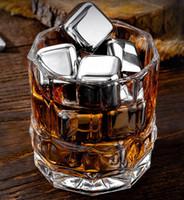 Aço inoxidável Whisky Pedras dos cubos de gelo da geleira refrigerador Pedra Whiskey Rochas 8pc do cubo de gelo + 1pcs clipe KTV Bar Ferramentas GGA3590