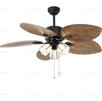 High quality European-style retro living room remote control Ceiling Fans Restaurant Living Room Fans Light pure copper lampshad LLFA