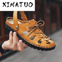 Classic Mens Sandals Summer Genuine Leather Male Beach Sanda...
