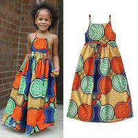 Kinder Kleidung Mädchen African Print Kleid Kinder Boho-Stil ärmel Schlinge Prinzessin Kleider 2020 Sommermode Babykleidung