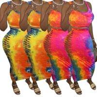 Lazo de las mujeres atractivo tinte Imprimir tapas del tanque ata para arriba el hueco de salida Midi Maxi Faldas Traje de dos piezas de vestidos largos Vestidos bodycon