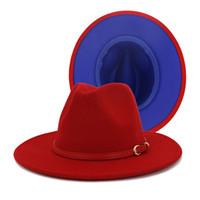 Rosso Giallo Patchwork Panama Fedorahat cotone poliestere Two Tone Hat Fedora Jazz di colore per il partito di uomini donne mostrano Music Festival
