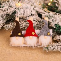 6pcs Noël suédois Gnome décoration en bois Clips bricolage Craft Clamp Papier photo Q39B