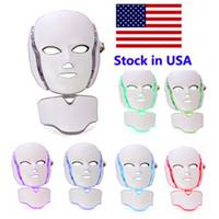 7 색 LED 광선 요법 얼굴 아름다움 기계 마이크로 현재 피부 미백 장치 DHL 무료 배달 LED 얼굴 목 마스크