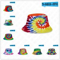 25 stilleri kova şapka Yaz kapaklar-boya kravat unisex degrade güneş şapkası düz üst moda açık hiphop kap yetişkin çocuklar plaj güneş Siperlik D71502 ile