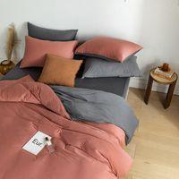 puro color sólido doble simple pelea japonesa mezcla nórdica juegos de cama plana cubierta del duvet 4pcs hoja de cama Queen size equipado
