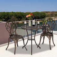 WACO 3-PCS Tulip Patio Bistroテーブルセット、アルミニウム椅子、洗練されたヨーロッパスタイル、屋外ガーデン、ポーチ、裏庭の家具セット - ブロンズ