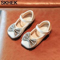 SKHEK Girls' Leather Shoes Princess Sequined Shallow Mouth Bow Soft Children's Peas Shoes 2020 Autumn Pink Rubber PU
