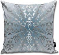 BAKKAL Gümüş Ve Gri Mavi Damask Yastık Vücut Yastık Yastık Standart 18inch × 18inch = 45cm x 45cm Kare Yastık Dekorasyon atmak ÇÖZMEK