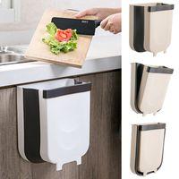 Folding Waste Bin armário de cozinha a suspensão da porta Trash Can Wall Mounted Trashcan de Banho WC Resíduos recipiente de armazenamento