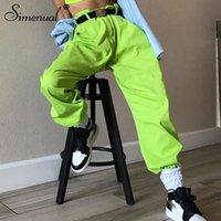 Pockets Simenual néon verde calças cargo mulheres de cintura alta streetwear calças de cintura alta oversize 2019 primavera moletom T200727 moda