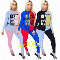 Femmes Survêtement Designer Lettre NOIR PAR DEMANDE Patchwork couleur POPULAR à manches longues T-shirt Pantalons Pull Pantalons Sport Costume S-XXXL D72304
