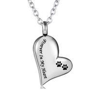 Acier inoxydable argent pavée imprimé bijoux bijoux chien chien chat pour toujours dans mon coeur cendres hésitations urnes collier pendentif pour femmes