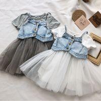 Abiti da ragazza Estate Girls Girls Tutu Dress Baby Kids Fashion Streetwear Bambini Vestidos Denim Vest Strap Snap Maglia PATCH 4 A 14 YRS