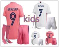 Çocuk Kiti 20 20 Gerçek Madrid Futbol Forması Seti Tehlike Benzema 20 21 Erkek Futbol Gömlek Üniformaları