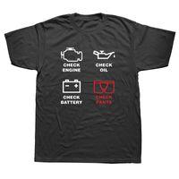 Vérification du moteur T-shirts Hommes T-shirt à manches courtes d'été Nouveau-O coton col hommes T-shirts Mécanicien de réparation Hauts Camisetas