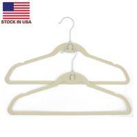 Stati Uniti Stock Bagni Bagni Appendini di stoffa Rack 10pcs / lot Abbigliamento floccaggio con gancio Beige Viaggio Plastica Plastica Portatile Hanger
