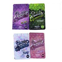 Runtz Gummies Çanta Mylar Bages Koku Geçirmez 500 mg Eter Runtz Beyaz Pembe Orijinal Plastik Fermuar Paketi 4 Renkler DHL Ücretsiz