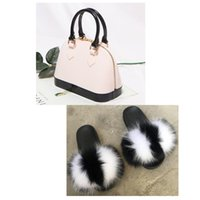 fur furry slides and purse set wholesale fuzzy slippers women summer fluffy slide fur slides and bags platform slipper