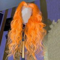 Wave de color naranja 13x6 Frente de encaje Pelucas de cabello humano con pelo de bebé Remy pelucas de encaje brasileño nudos blanqueados